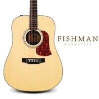 Wooden Ingerman Spruce Solid Top acoustic guitar 41inch pickup flattop guiar solid top wood guitar folk guitar strap free