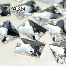 Crystal Strass 6A Glass Sew On Rhinestones Rectangle Flatback 13x18mm 18x25mm Diamond Sewing For Garment Clothing