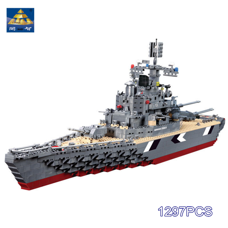 KAZI Military Building Blocks Compatible with lego World War Bricks Bismarck Cruiser Battleship Construction Blocks Model Hobby ba904 academy wwii german artwox battleship bismarck wood deck aw10047
