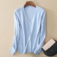 Spring And Autumn Winter NEW Woman V Neck Color Point Pure Cashmere Fashion Knitted Cardigan Sweaters