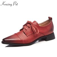 Krazing Pot Cow Leather Square Toe Lace Up Preppy Rome Style Women Shoes Simple Solid Shoes