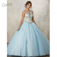 Hot Sale Gorgeous Light Blue Quinceanera Dresses 2019 Ball Gown Beading Crystal Tulle Sweet 16 Dress Party Gown Vestidos 15 anos