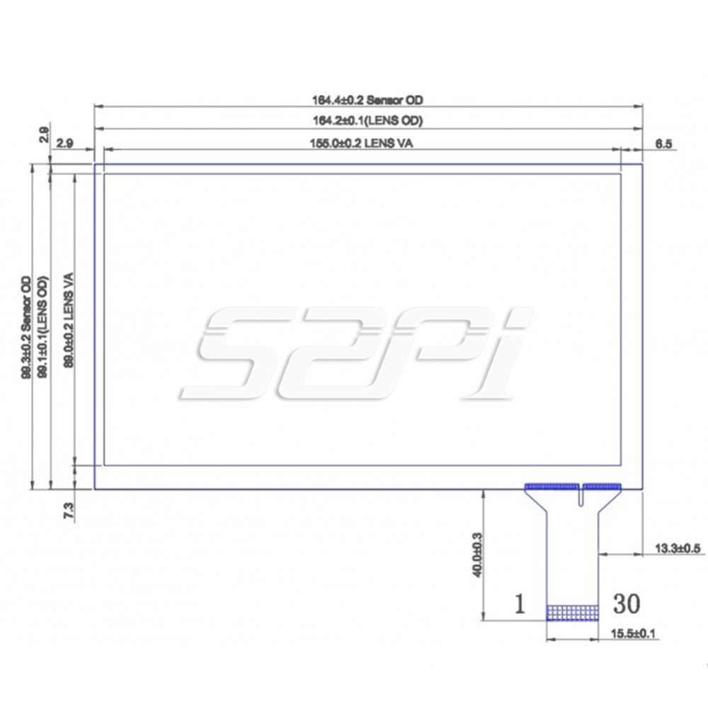 52Pi Original 7 pulgadas capacitiva pantalla táctil digitalizador Panel cristal Sensor Kit para CTP-5710 Raspberry Pi 4 B todas las plataformas /PC