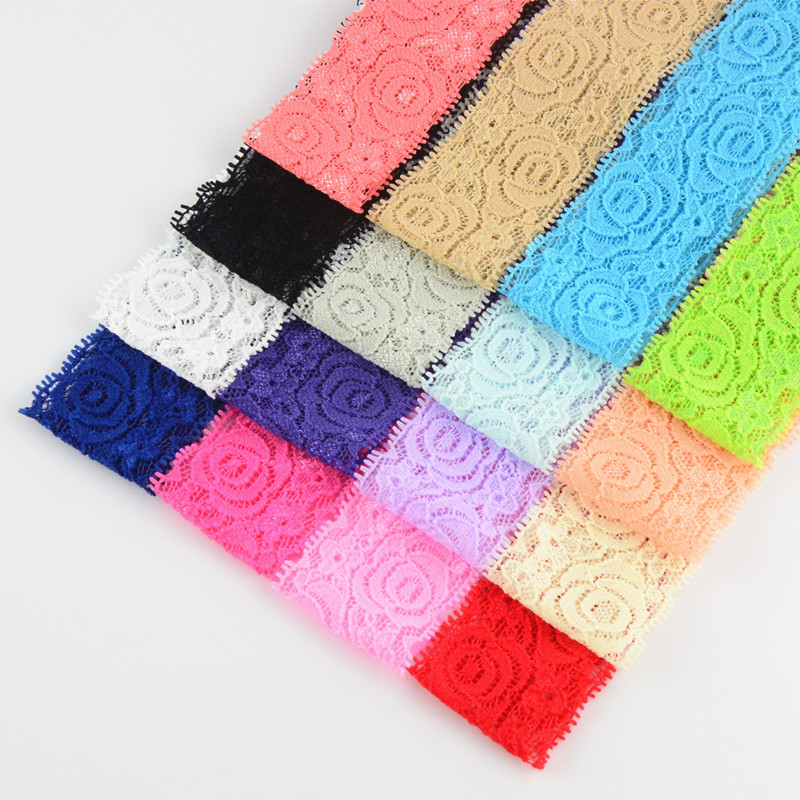 Top Quality 24pcs lot girl Headbands Hair Accessory Lace Flowers Wide Head Bands 1 6in Girls
