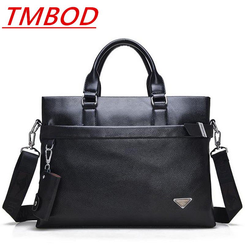TMBOD Men's PU leather Briefcase Fashion solid Handbags for Man Sacoche Homme Marque Male Bag for A4 Documents.y303