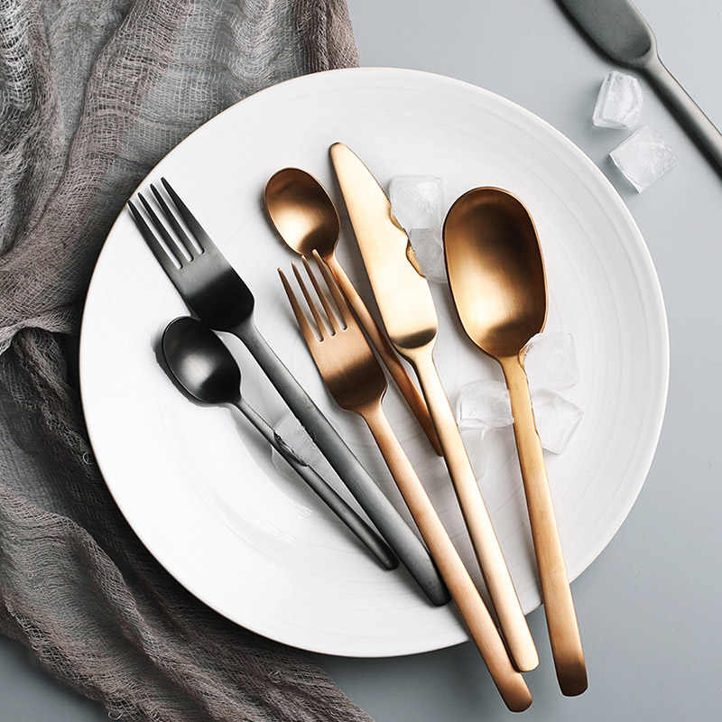 Sliver Dinnerware Set Titanium Tableware Black Fork Stainless Steel Steak Knife Mirror Polish Gold Spoon Western  Cutlery 4pcs