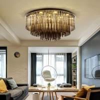 تركيبات إضاءة للسقف مستديرة بإضاءة LED حديثة من الكريستال الإنارة مصابيح سقفية لغرفة النوم وغرفة المعيشة ثلاثة ألوان مصباح إضاءة قابل للتعتيم-في أضواء السقف من مصابيح وإضاءات على