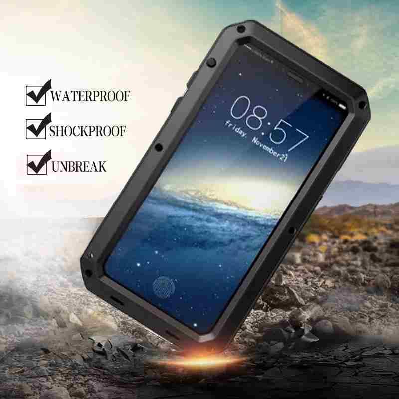 Heavy Duty Stoßfest Wasserdicht Rüstung Aluminium Fall für iPhone XS Max XR X 10 7 8 Plus 6 6 s 5 5 s SE Harte Silikon Hybrid Abdeckung
