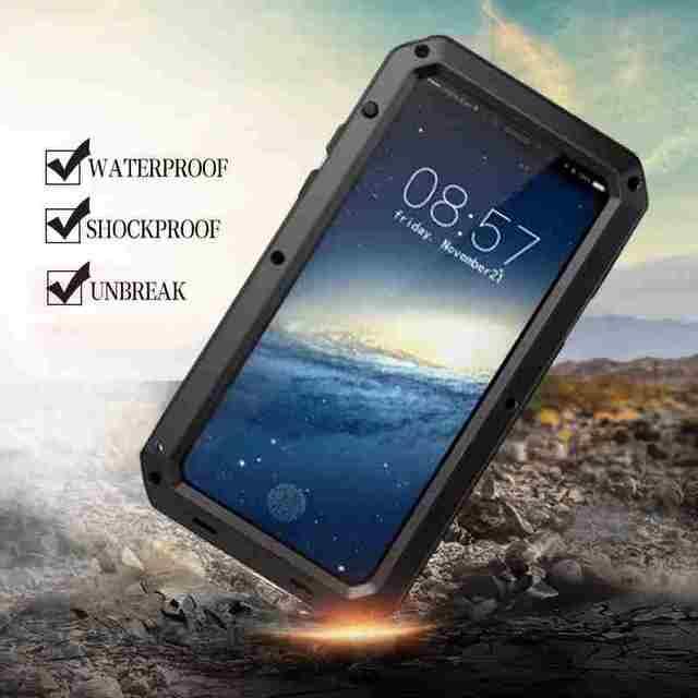 Nhiệm Vụ nặng Nề Chống Sốc Chống Thấm Nước Armor Nhôm Trường Hợp cho iPhone XS Max XR X 10 7 8 Cộng Với 6 6 s 5 5 s SE Cứng Silicone Lai Bìa