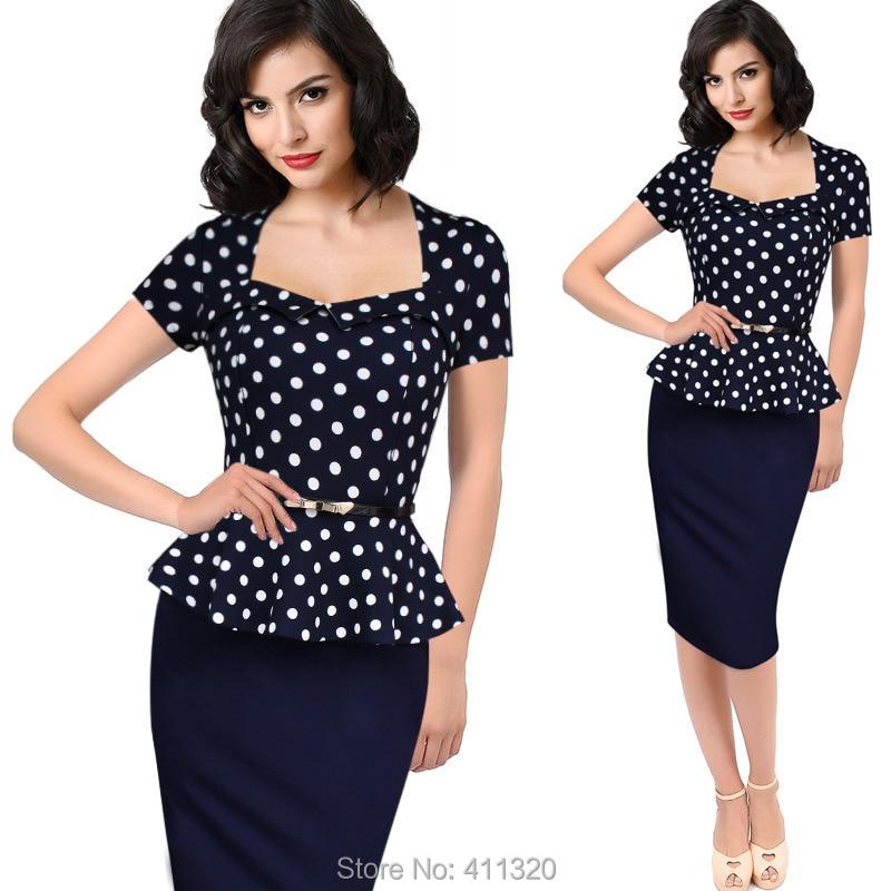 Womens Elegant Vintage Empire Formal Office Dress Polka Dots Patchwork Knee Length Pencil Bodycon Party Dresses Plus Size (3)