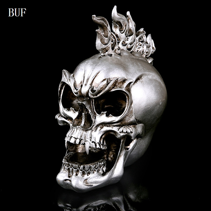 BUF Resin Craft Home Decoration Accessories Halloween Decoration Skull Statues Creative Bar Decoration Skull Statue Sculpture