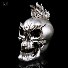 BUF Resin Craft Home Decoration Accessories Halloween Decoration Skull Statues Creative Bar Decoration Skull Statue Sculpture цена 2017