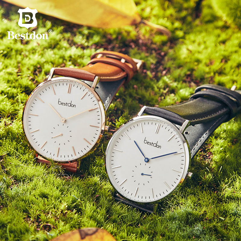 Bestdon Men's Watch Quartz Ultra Slim Women Wristwatches Waterproof Japanese Movement Couple Leather Strap Top Brand Luxury 2019
