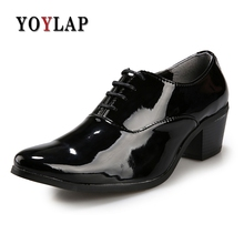 48aad9b652e Mens Red Black White Wedding Shoes Gentsman 6cm High Heeled Glossy Leather Dress  Shoes 2.3 Inch