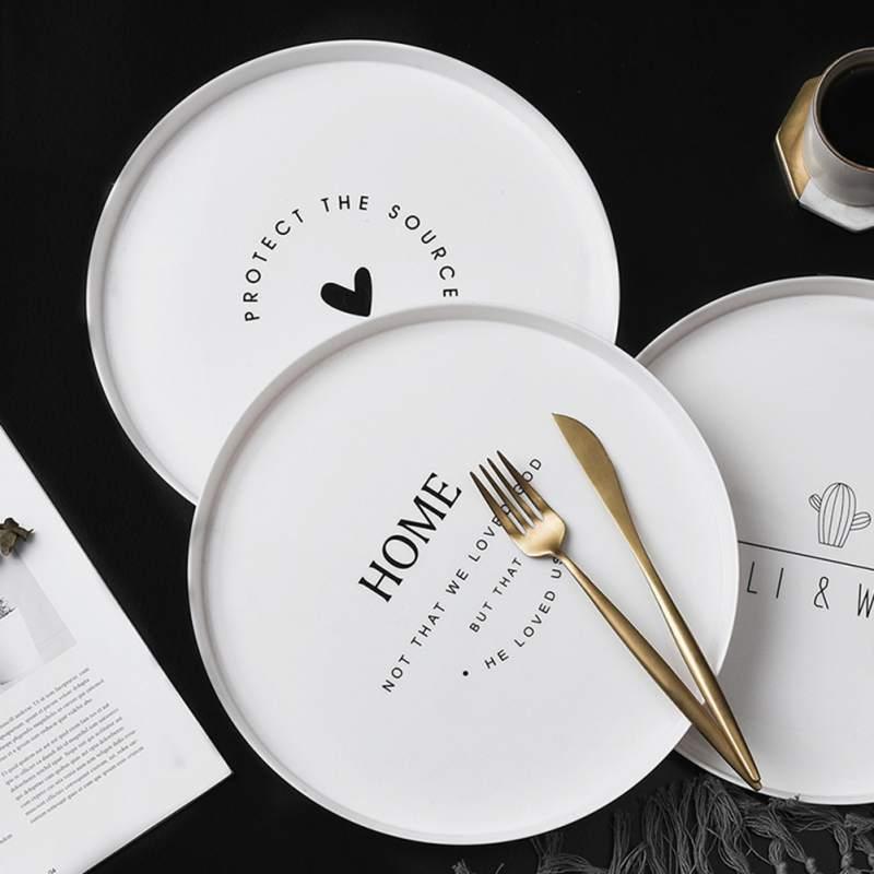 Nordic Style Plastic Round Breakfast Tray Food Fruit Dessert Plate Snack Storage Trays Kitchen Decorative Dish Tray