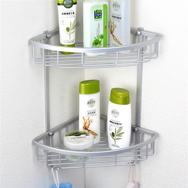 antique space aluminum corner basket bathroom products luxury cosmetic storage bathroom shelf holder bathroom accessories