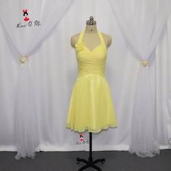 Пикантные желтые платье подружки невесты Короткие Холтер 2017 гостей свадьбы Платья для женщин цветы спинки Дешевые Китай Robe demoiselle d'honneur