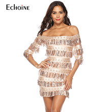 2019 Sexy Off Shoulder Fringe Sequined Party Dress Bodycon Slim Fit Wrap Short Robe Femme Layered Glitter For Women