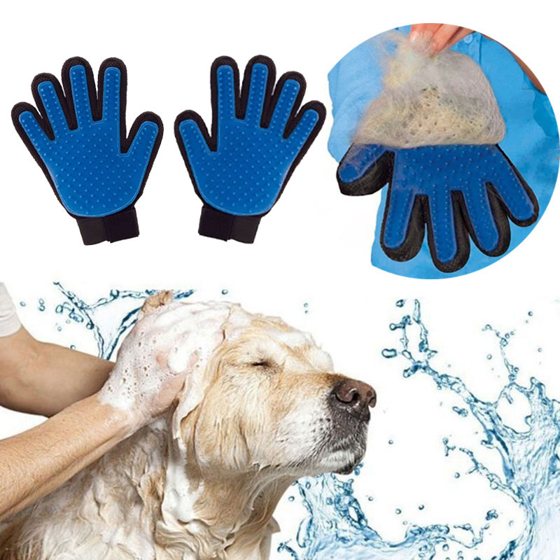 Pet brush Gloves Pet Grooming Glove Dog Bath Cat cleaning Supplies Pet Glove Dog combs Size:24*17 cm dual pvc mesh pet dog cat toilet bed pan blue size s