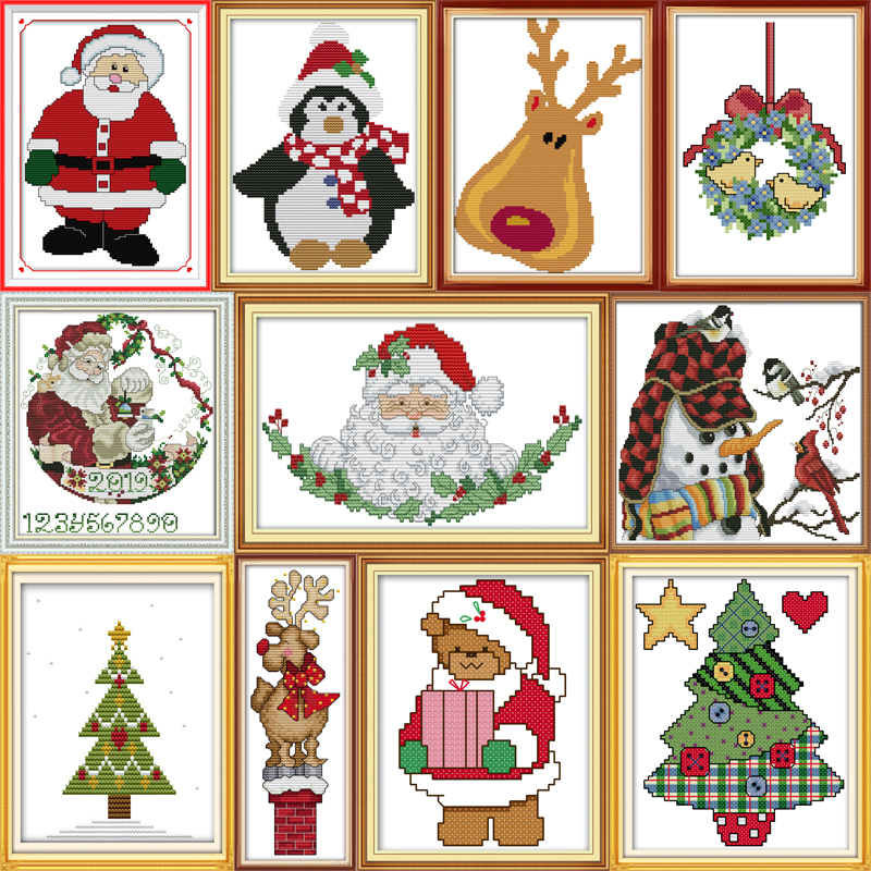 Joy Sunday Christmas Collection Patterns DIY Hand Made Cross Stitch Kit DMC 11ct 14ct Embroidery Home Decoration Send Gift