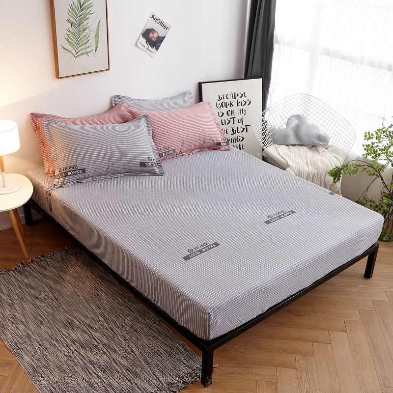 2019 New Product 1pcs 100%Cotton Printed Solid Fitted Sheet Mattress Cover Four Corners With Elastic Band Bed Sheet