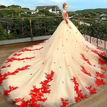 smileven Red Lace Wedding Dress Long Sleeves Vestidos de novia 2019  Champagne Bridal Sexy Gowns