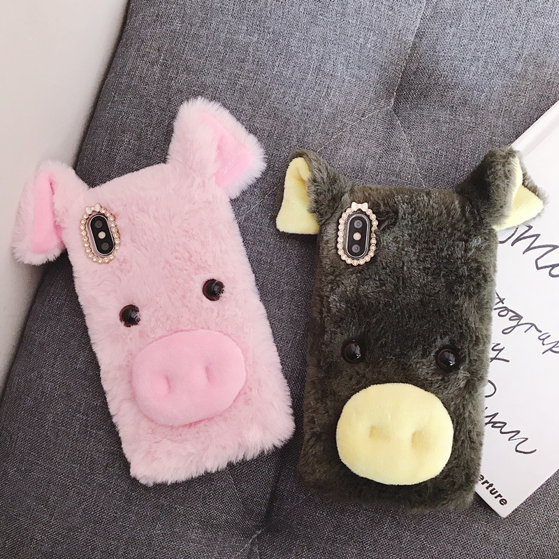 Warm Fur Cases For <font><b>Samsung</b></font> Galaxy A90 A70 A10 A20 A50 A40 <font><b>A30</b></font> M30 M10 M20 A2 Core A8S A40S A6S Plush Lovely Pig Covers image