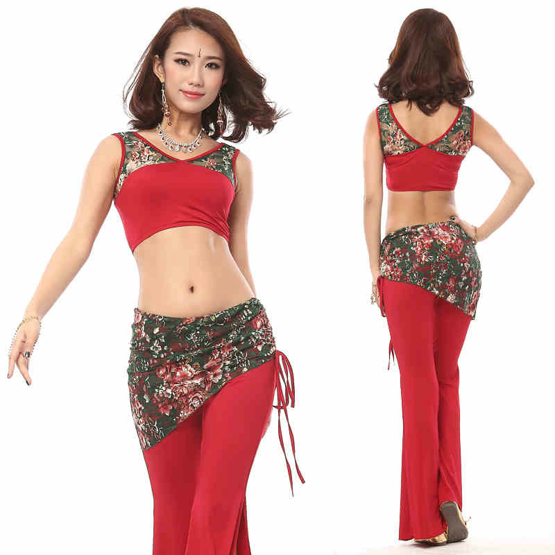 2016 Real Bellydance Costume Belly Dancing Women Costume Comfortable Set New Spring Dance Clothing Color Lace Two Piece Clothes