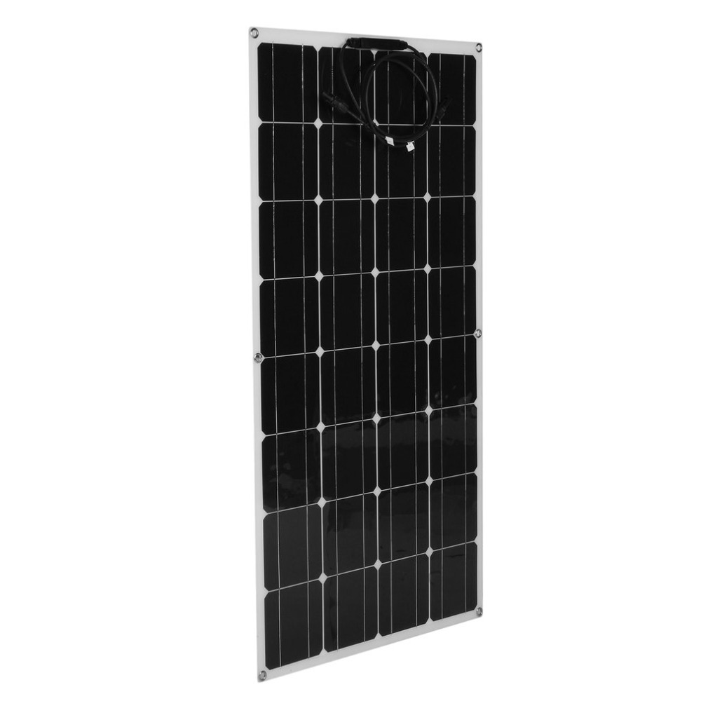 100W 12V Monocrystalline Flexible Solar Panel Outdoor Solar Charging Device 5M Extension Cable Controller For Off Grid RV Boat boguang portable solar panel kit 100w diy rv boat solar plate system flexible solar panel controller cable outdoor light led