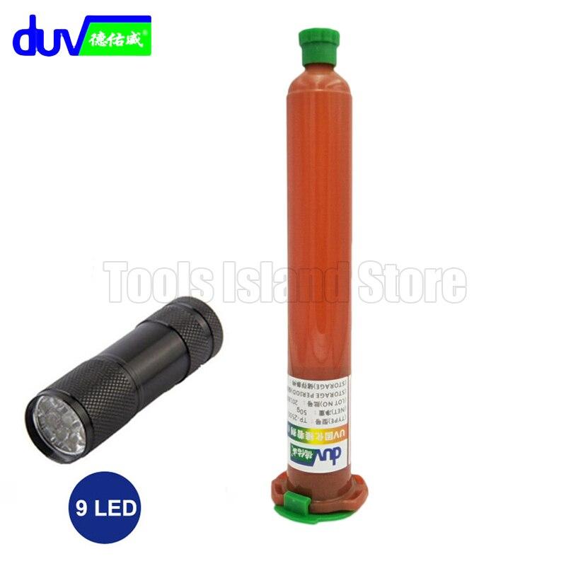 50g TP-2500 LOCA UV colla liquida ottico adesivo trasparente con 9LED UV Torcia Elettrica per il tocco dello schermo di huawei samsung galaxy iPhone