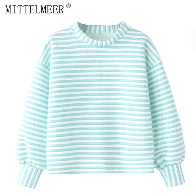 MITTELMEER 2018 Autumn winter Harajuku printed Hooded Sweatshirt Candy colors stripe Hoodies girls women