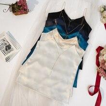 ArtSu 夏チェーンストラップトップファッションノースリーブビーチブラックホワイトサテントップセクシーな服キャミソールトップ Mujer ASVE20220