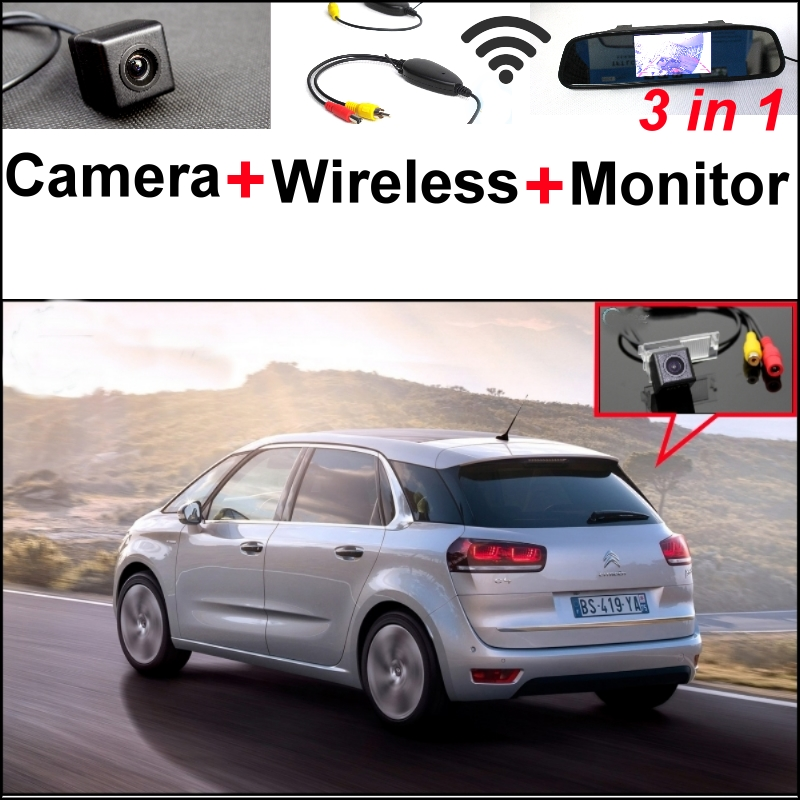 3 in1 Special Camera + Wireless Receiver + Mirror Monitor EASY DIY Back Up Parking System For Citroen C2 C4 C5 2010~2015 wireless pager system 433 92mhz wireless restaurant table buzzer with monitor and watch receiver 3 display 42 call button