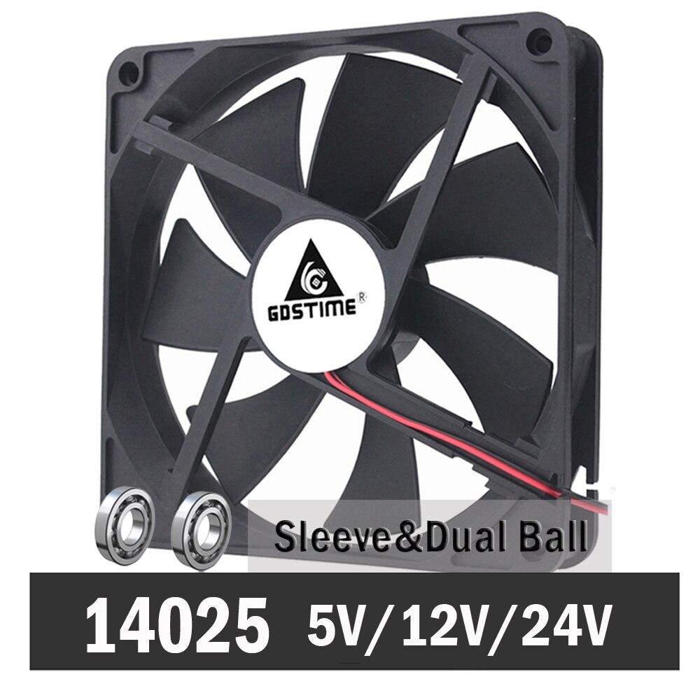 Gdstime 14cm 140mm 5V 12V 24V PC Computer Case Fan Laptop CPU Cooling Fan 2PIN USB 140x140x25mm Ball/Sleeve Bearing