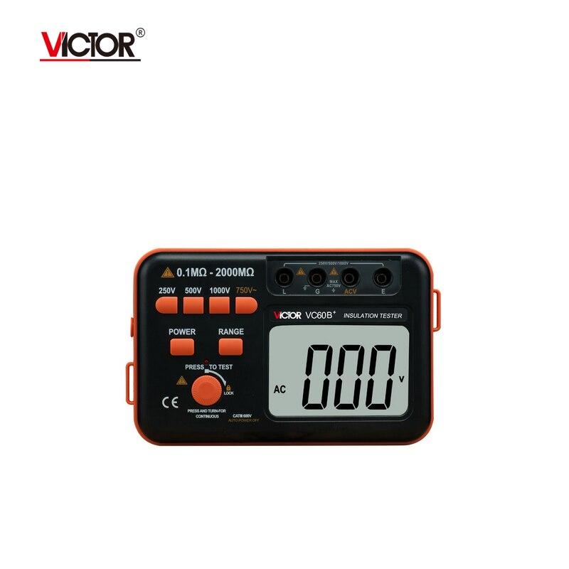 Victor VC60B+ Digital Insulation Resistance Tester Megger MegOhm Meter DC/AC 0.1~2000m ohm Wholesale  цены