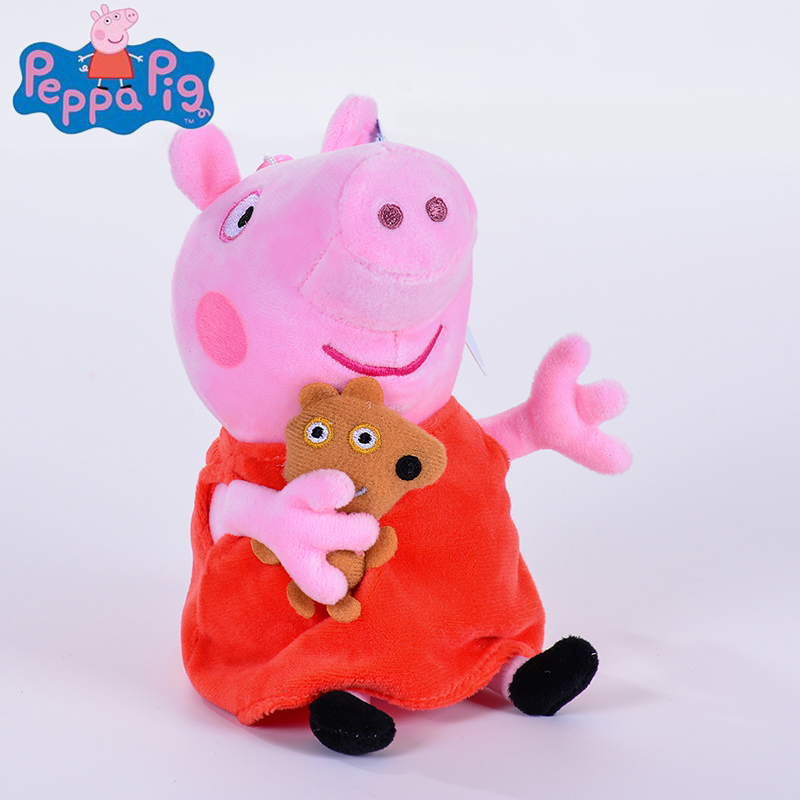 genuine 1PCS 19-30CM pink Peppa Pig Plush pig Toys high quality hot sale Soft Stuffed cartoon Animal Doll For Children's Gift hot sale 60cm famous cartoon totoro plush toys smiling soft stuffed toys high quality dolls factory price in stock