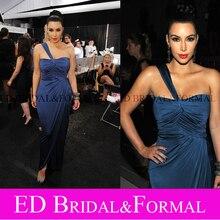 Kim Kardashian Marineblau Abendkleid Satin Chiffon Promi Abendkleid vestidos de gala