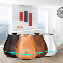 KBAYBO Ultrasonic Air Humidifier Aroma Essential Oil Diffuser electric  diffuser for home with Wood Grain 7 colors LED Lights
