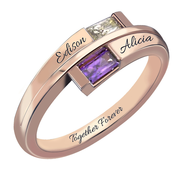 Rose Gold Color Double Baguette Bypass Ring withTwo Name Birthstone