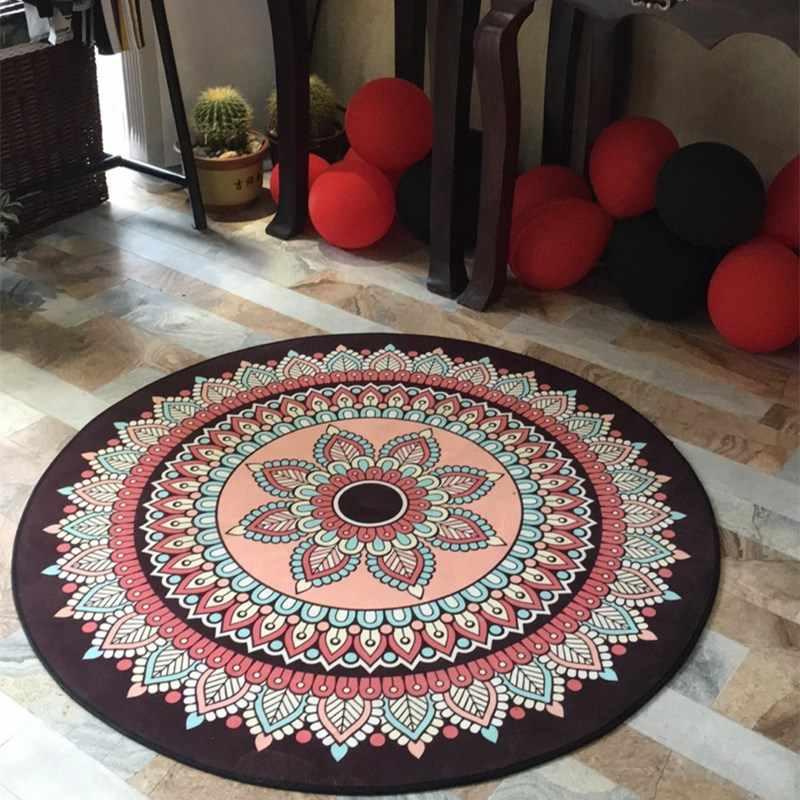 Богемный винтажный круглый ковер для гостиной в американском стиле, для дома, спальни, круглый коврик, для кабинета, коврики, Нескользящая подушка для стула