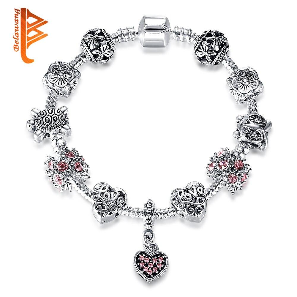 BELAWANG Valentin-nap 925 Ezüst szívjátékos karkötők női DIY rózsaszín kristály gyöngy karkötők és karperecek eredeti ékszerek