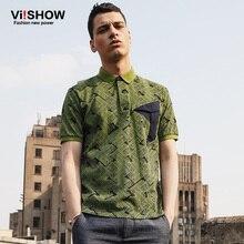 Viishow font b Men b font Green font b Polo b font Shirt Stacking Geometry Totem