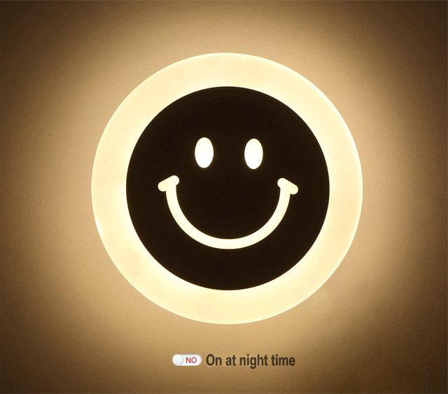 Sorriso Rosto Levou lâmpada de Parede moderna decoratoion pequeno Animal Novidade futebol acrílico luz da noite para casa