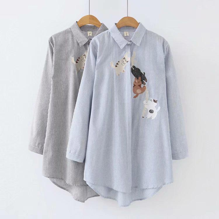 K71 Autumn Casual Blouses 4XL Plus Size Women Clothing Fashion Loose Long Sleeve Embroidery Cat Stripe Shirts X-982