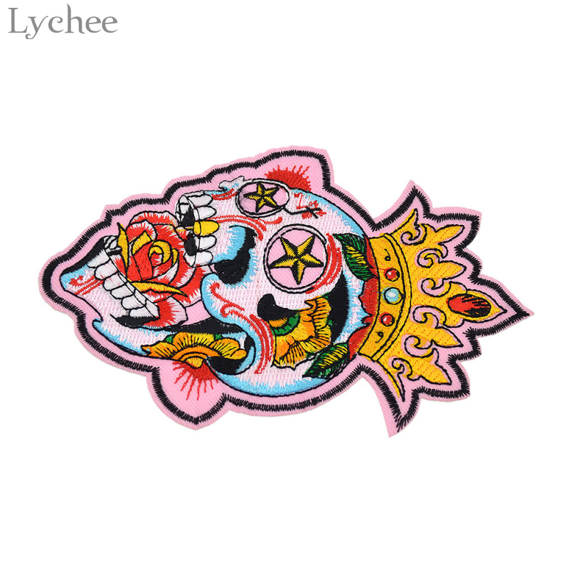 Diy Handmade Embroidered Patch: Lychee Punk Skull Crown Embroidered Patch Iron On Applique