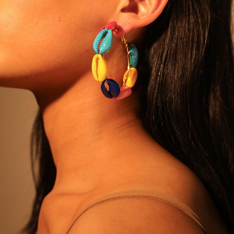 Multi-color Shell Earrings for Women Summer Beach Bohemian Earring Circle Geometric Earing Boucle Doreille Coquillage