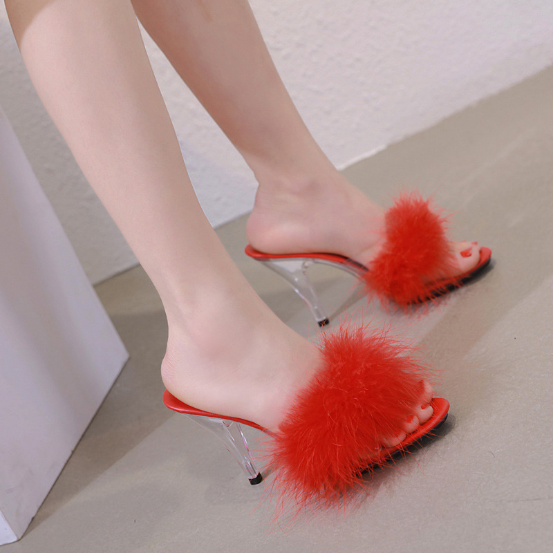 Slippers Sandals Dress-Shoes Transparent Heel High-Heel Large-Size Fur 7cm 10cm Party
