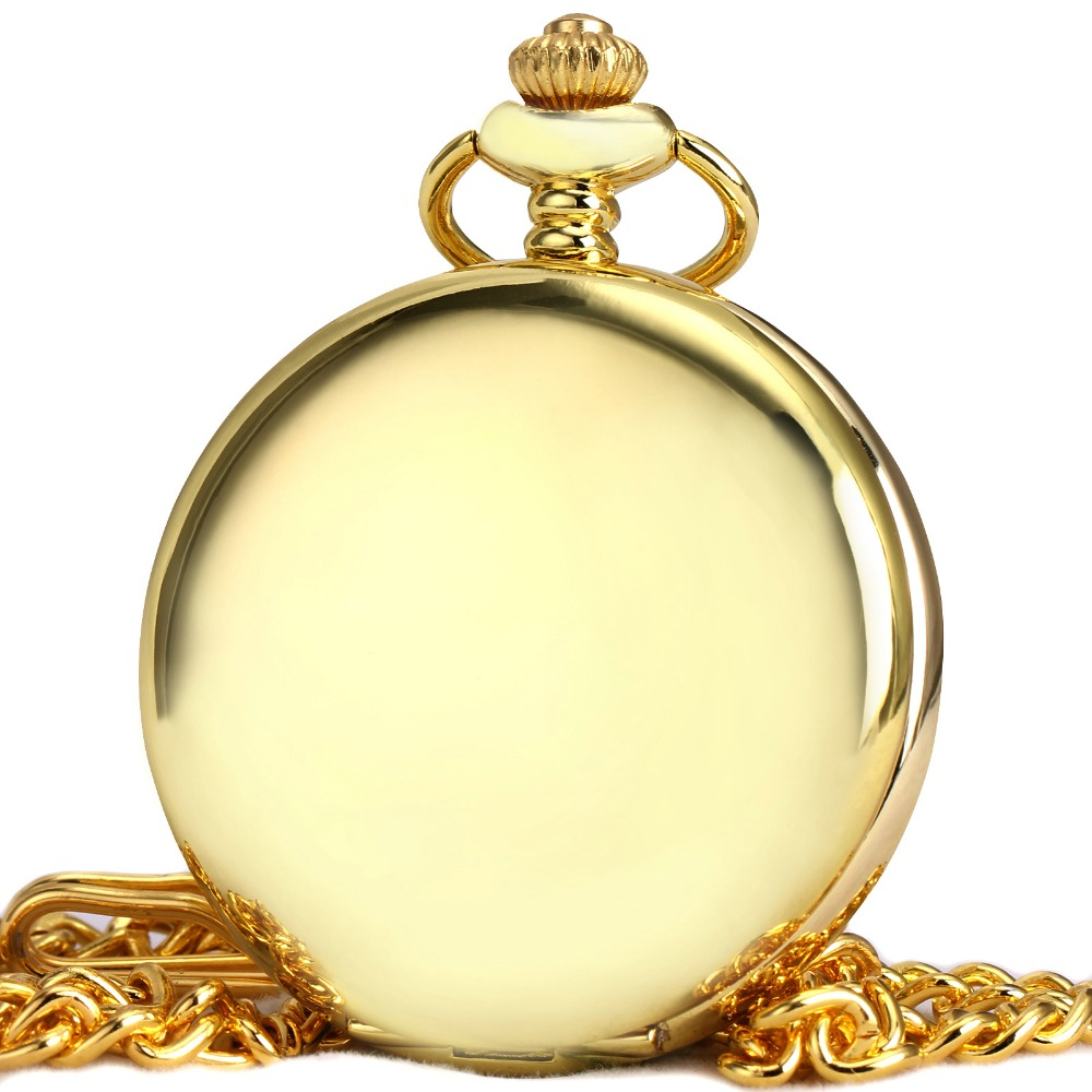 Mens pocket watches with chain images mens gold pocket watches gifts - Luxury Golden Pocket Watches For Men Women Td Top Brand Ulter Thin Unisex Quartz Watches Smooth Gold Case Pendant Chain Box