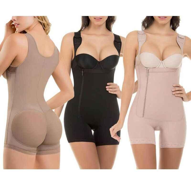 a208ea1d8a2cf Bodysuit Open Crotch Women Butt Lifter Waist Trainer Plus Size Slimming  Zipper Underbust Body Shaper Gray