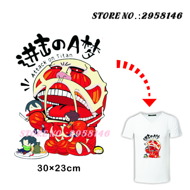 Attach on Titan Heat Transfer Thermal Press Pyrograph Printing of Doraemon Beast iron On Washable Patches Stickers for T-shirt